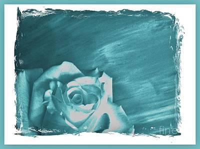 Aqua Beauty Rose Poster by Marsha Heiken