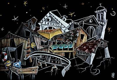 Art Night Design Original Drawing -  Gondola Squero San Trovaso Venezia Italia Poster by Arte Venezia