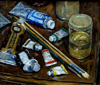Still Life Tubes And Brushes Poster by Thor Wickstrom