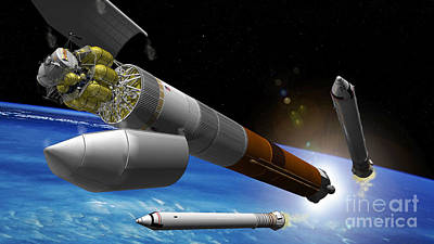 Artist Rendition Of A Heavy-lift Rocket Poster by Stocktrek Images