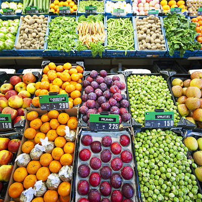 Assorted Fruit And Vegetables Apples Poster by Corepics