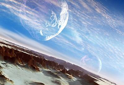 Asteroid Approaching An Alien Moon Poster by Detlev Van Ravenswaay