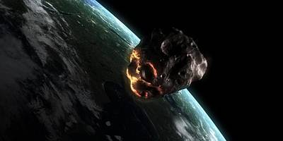 Asteroid Approaching Earth, Artwork Poster by Sciepro