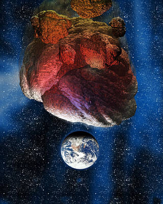 Asteroid Approaching Earth Poster by Victor Habbick Visions