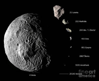 Asteroid Size Comparison With Vesta Poster by NASA/Science Source