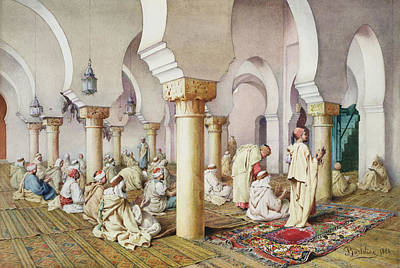At Prayer In The Mosque Poster by Filipo Bartolini or Frederico
