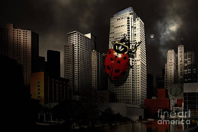 Attack Of The Giant Killer Ladybug Of San Francisco . 7d4262 Poster by Wingsdomain Art and Photography