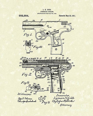 Automatic Firearm 1911 Patent Art Poster by Prior Art Design