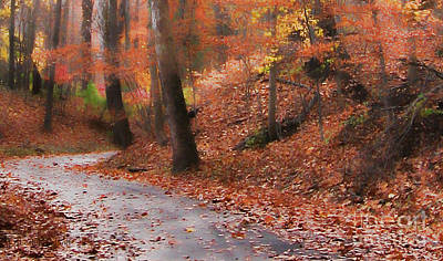 Autumn On A Quiet Country Lane Poster by Happy Walls