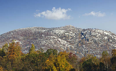 Autumn Snow On Old Rag Mountain - Virginia Poster by Brendan Reals