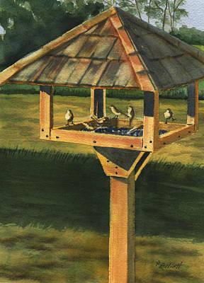 Backyard Birdie Bistro Poster by Marsha Elliott