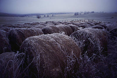 Bales Of Hay Covered With Morning Frost Poster by Kenneth Garrett