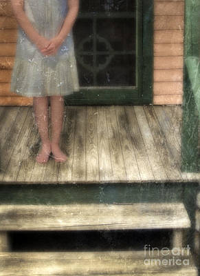 Barefoot Girl On Front Porch Poster by Jill Battaglia