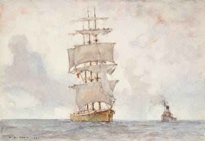 Barque And Tug Poster by Henry Scott Tuke