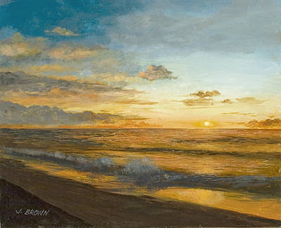 Beach Sunrise Poster by John Brown