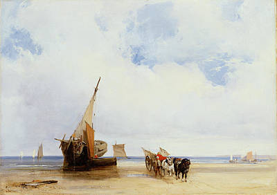 Beached Vessels And A Wagon Near Trouville Poster by Richard Parkes Bonington