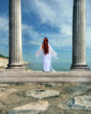 Beautiful Woman In White Poster by Jill Battaglia