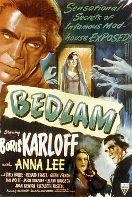 Bedlam, Boris Karloff, Anna Lee, 1946 Poster by Everett