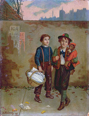Beggars And A Monkey Poster by Augustus Edward Mulready