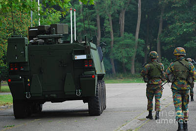 Belgian Infantry Soldiers Walk Poster by Luc De Jaeger