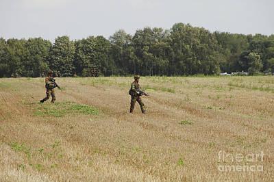 Belgian Paratroopers Proceeding Poster by Luc De Jaeger