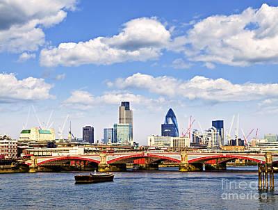 Blackfriars Bridge With London Skyline Poster by Elena Elisseeva