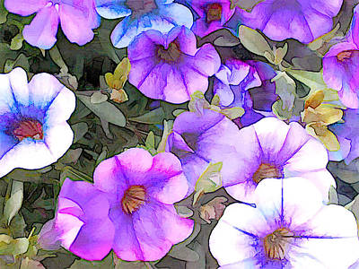 Blue And Lavender Million Bells Flowers Poster by Elaine Plesser