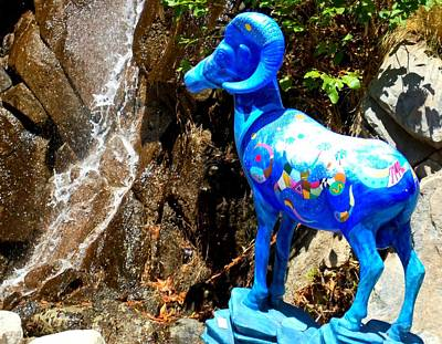 Blue Bighorn Sheep Poster by Randall Weidner