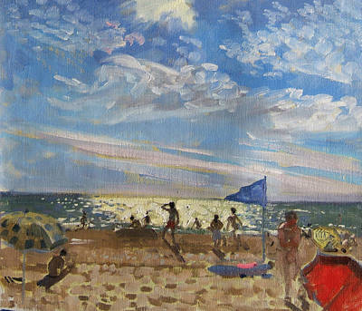 Blue Flag And Red Sun Shade Poster by Andrew Macara