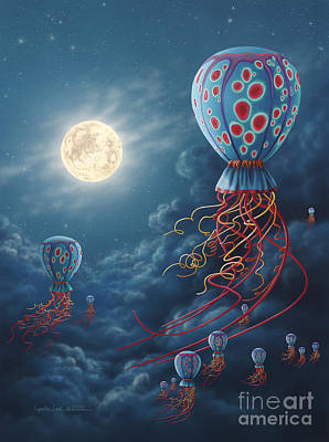 Blue Floaters Poster by Lynette Cook