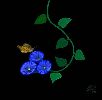 Blue Flower Butterfly Poster by Rand Herron