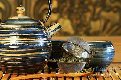 Blue Japanese Teapot Poster by Sandra Cunningham
