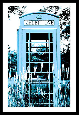 Blue Telephone Booth In A Field In Maine Poster by Kara Ray