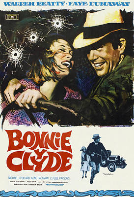 Bonnie And Clyde, Faye Dunaway, Warren Poster by Everett