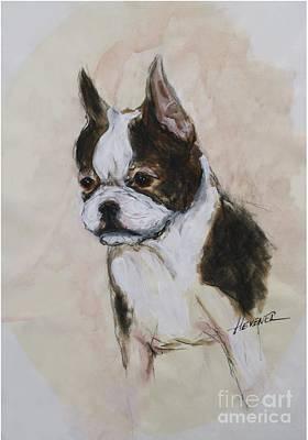 Boston Terrier Puppy Love Poster by Ron Hevener
