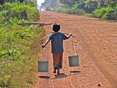 Boy Carrying Drinking Water Poster by Bjorn Svensson