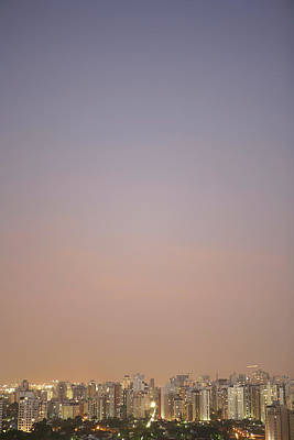 Brazil, Sao Paulo, Cityscape At Sunset, Elevated View Poster by Thomas Northcut