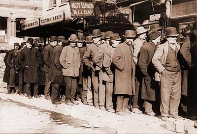 Bread Line Of Men On New York Citys Poster by Everett