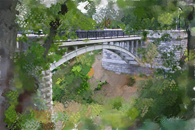 Bridge At Lake Park Poster by Geoff Strehlow