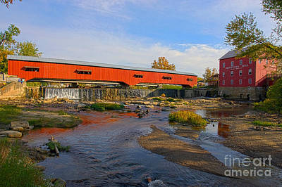 Bridgeton Covered Bridge And Mill No 3 Poster by Alan Look