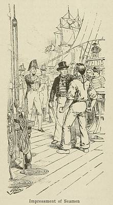British Officers Impressing A Seaman Poster by Everett