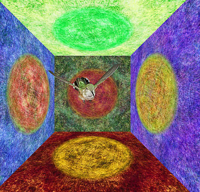 Broadtailed Hummingbird In A Nexus Of Five Portals Poster by Gregory Scott