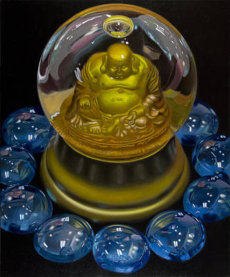 Buddha Globe With Blue Glass Poster by Tony Chimento