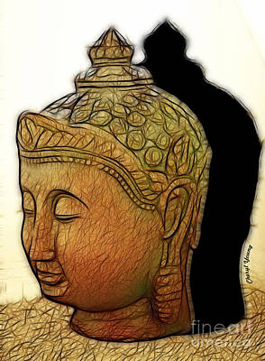 Buddha Shadow Poster by Cheryl Young