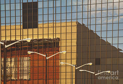 Building Reflected In Glass Building Windows Poster by Thom Gourley/Flatbread Images, LLC