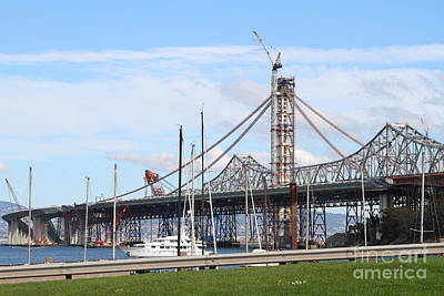 Building The New San Francisco Oakland Bay Bridge 7d7775 Poster by Wingsdomain Art and Photography