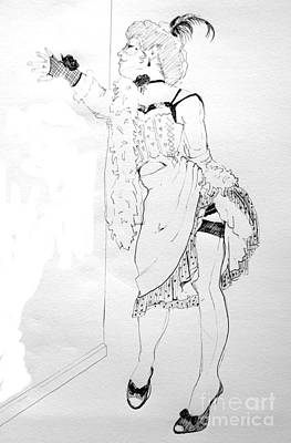 Burlesque Drawing Poster by Joanne Claxton
