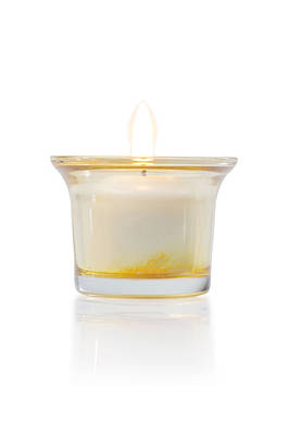Burning Candle In Glass Holder Poster by Atiketta Sangasaeng