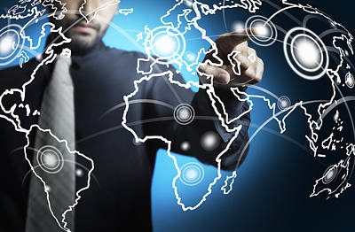 Businessman Touching World Map Screen Poster by Setsiri Silapasuwanchai