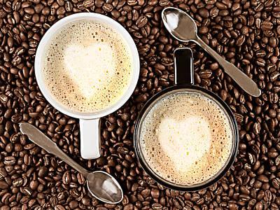 Caffe Latte For Two Poster by Gert Lavsen